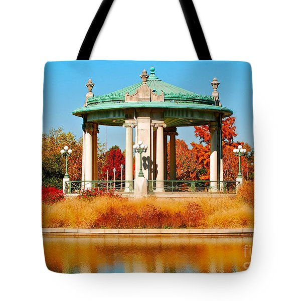Tote Bag featuring the photograph Forest Park Gazebo by Peggy Franz