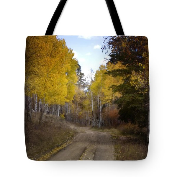 Forest Road In Autumn Tote Bag by Ellen Heaverlo