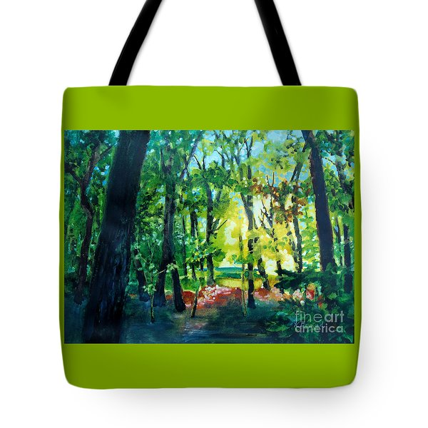 Tote Bag featuring the painting Forest Scene 1 by Kathy Braud