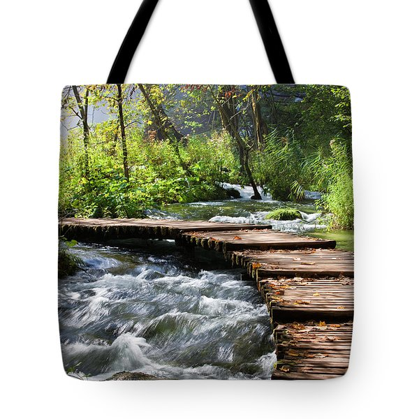 Forest Stream Scenery Tote Bag