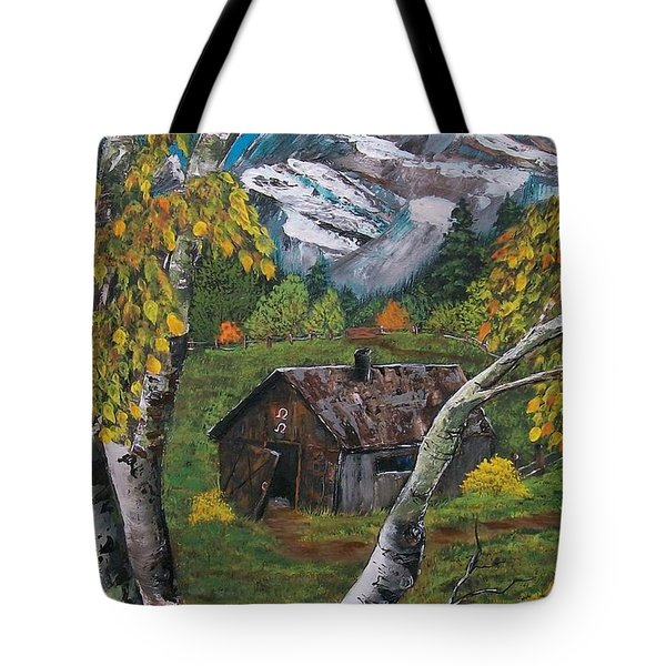 Tote Bag featuring the painting Forgotten Cabin  by Sharon Duguay