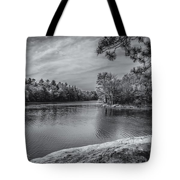 Fork In River Bw Tote Bag by Mark Myhaver