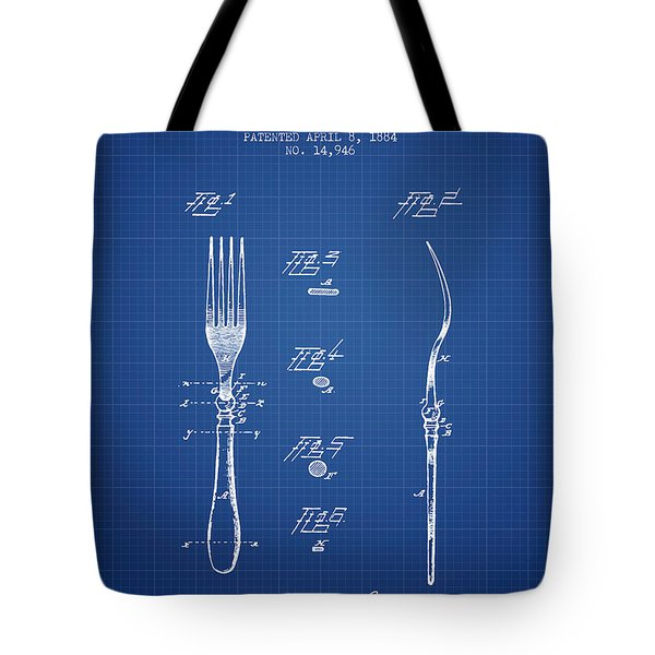 Fork Patent From 1884 - Blueprint Tote Bag