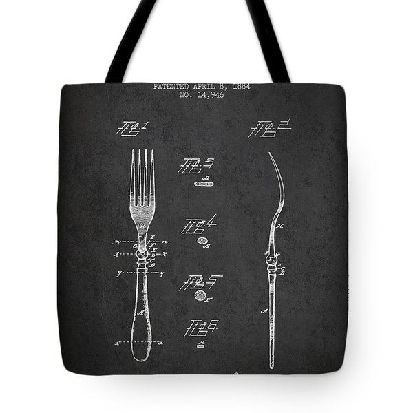 Fork Patent From 1884 - Dark Tote Bag