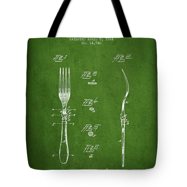 Fork Patent From 1884 - Green Tote Bag