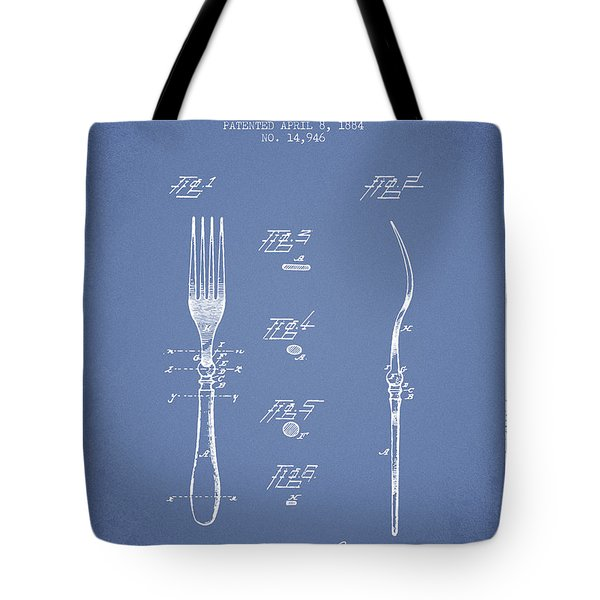 Fork Patent From 1884 - Light Blue Tote Bag