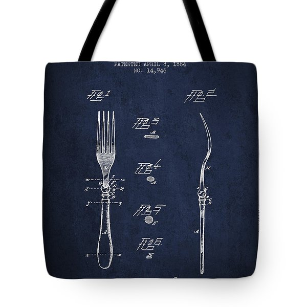 Fork Patent From 1884 - Navy Blue Tote Bag