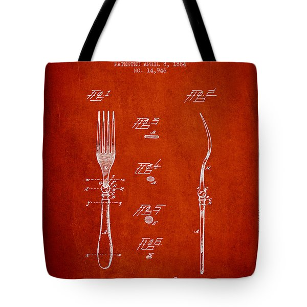 Fork Patent From 1884 - Red Tote Bag