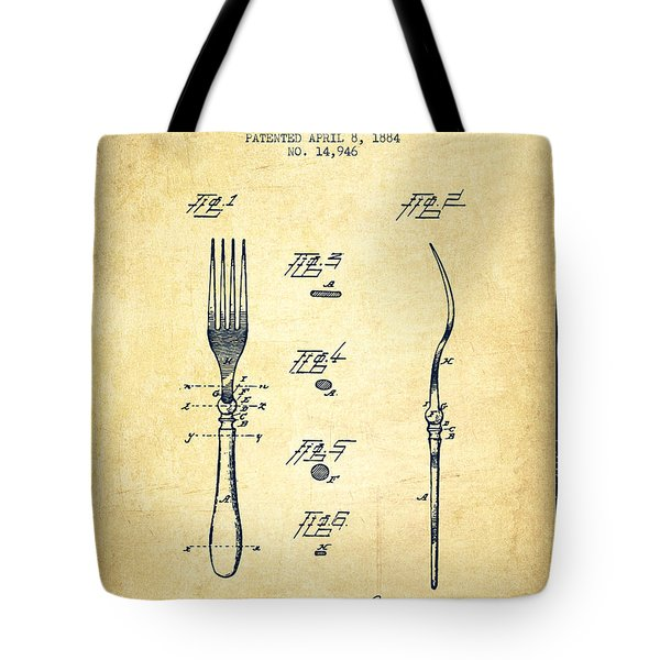 Fork Patent From 1884 - Vintage Tote Bag