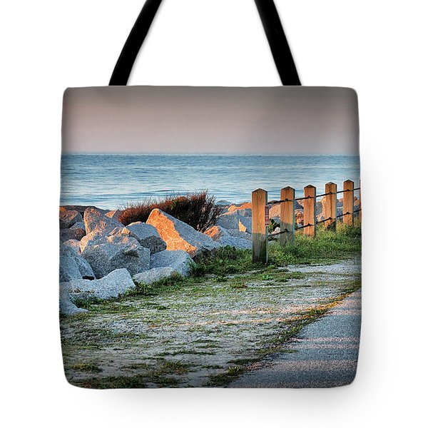 Fort Fisher Rocks At  Sunrise Tote Bag