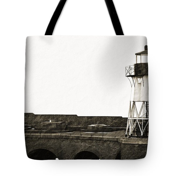 Fort Point Lighthouse Tote Bag by Holly Blunkall