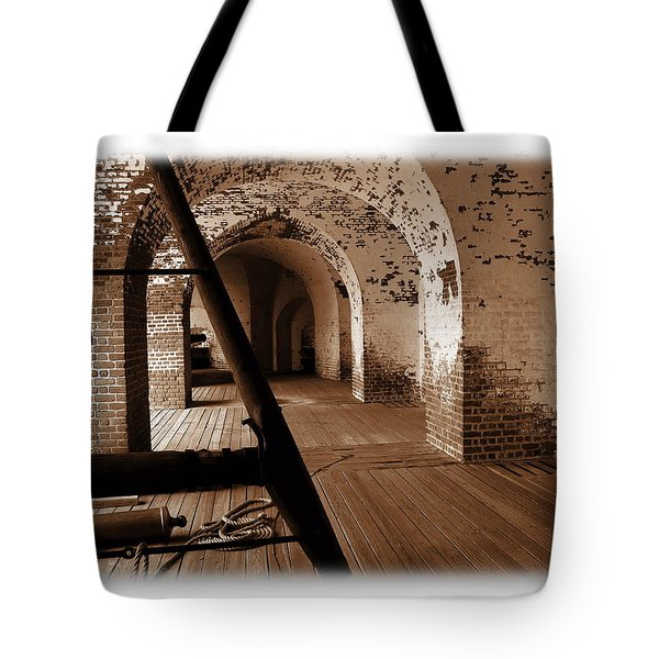 Tote Bag featuring the photograph Fort Pulaski Arches Sepia by Jacqueline M Lewis
