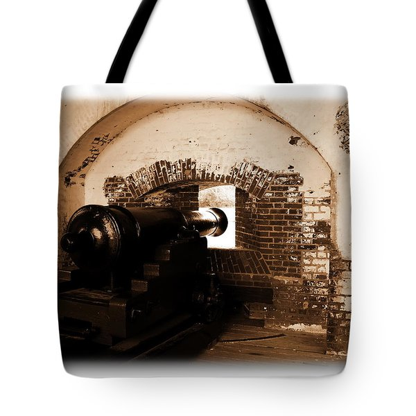 Tote Bag featuring the photograph Fort Pulaski Canon Sepia by Jacqueline M Lewis