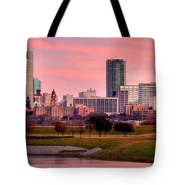 Tote Bag featuring the photograph Fort Worth Skyline At Dusk Evening Color Evening Panorama Ft Worth Texas  by Jon Holiday