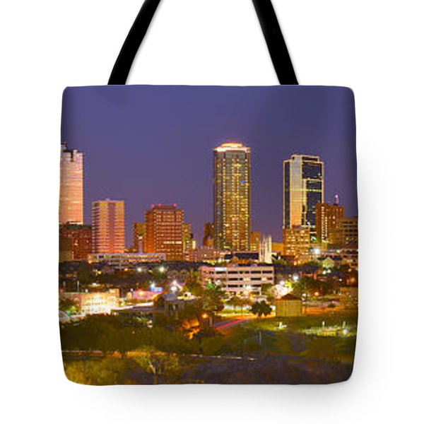 Tote Bag featuring the photograph Fort Worth Skyline At Night Color Evening Panorama Ft. Worth Texas by Jon Holiday