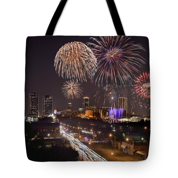 Tote Bag featuring the photograph Fort Worth Skyline At Night Fireworks Color Evening Ft. Worth Texas by Jon Holiday