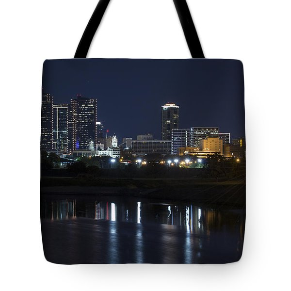 Fort Worth Skyline Super Moon Tote Bag