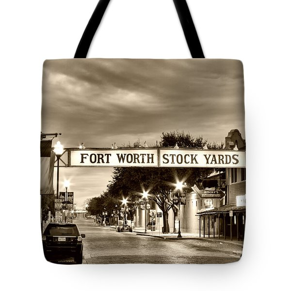 Fort Worth Stock Yards In Sepia Tote Bag