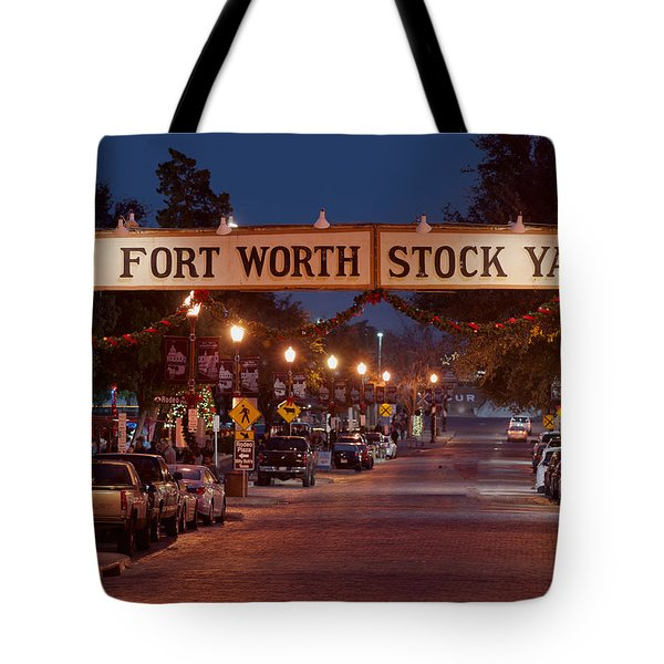 Fort Worth Stock Yards Night Tote Bag