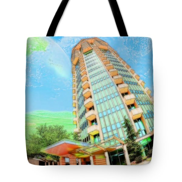 Founder's Tower In Oklahoma City Tote Bag by Liane Wright
