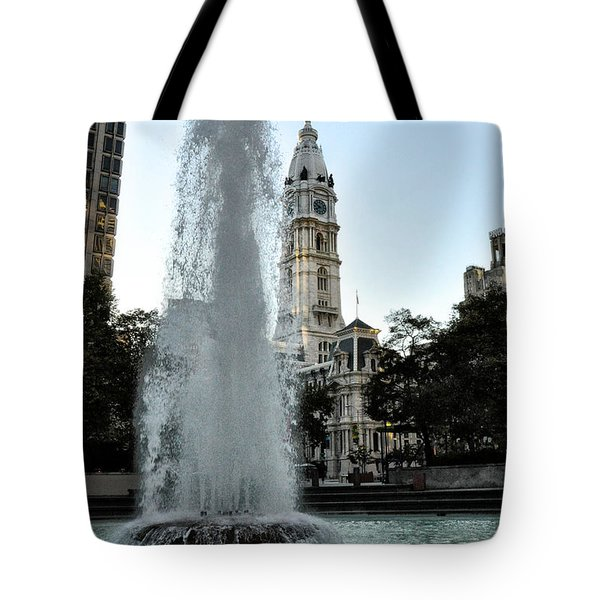 Fountain And Philadelphia City Hall Tote Bag by Bill Cannon
