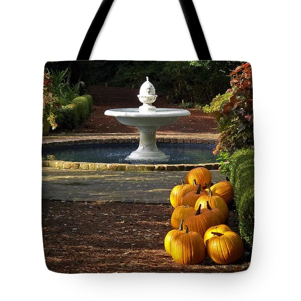 Tote Bag featuring the photograph Fountain And Pumpkins At The Elizabethan Gardens by Greg Reed