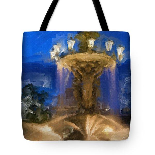 Fountain At Dusk Tote Bag by Ayse Deniz