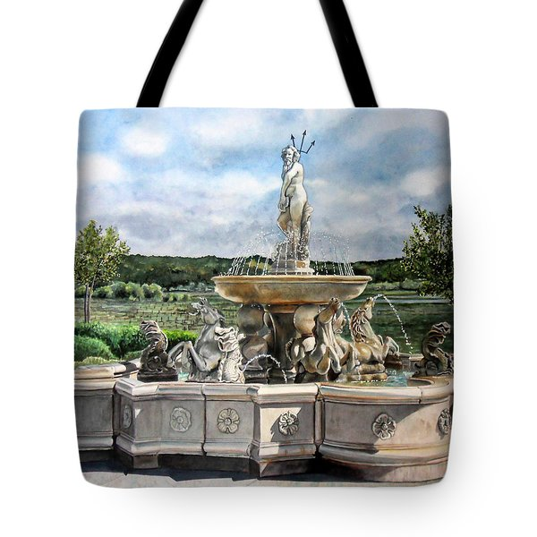 Fountain At The Vineyards Edge Tote Bag