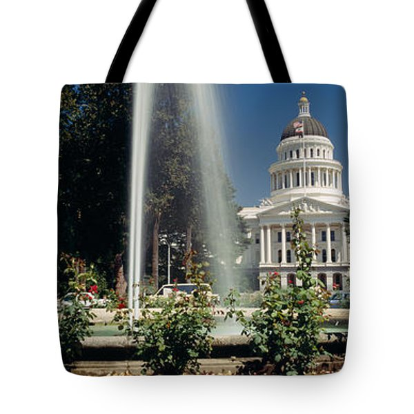 Fountain In A Garden In Front Tote Bag