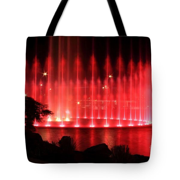 Fountain Of Red Tote Bag by Geraldine DeBoer