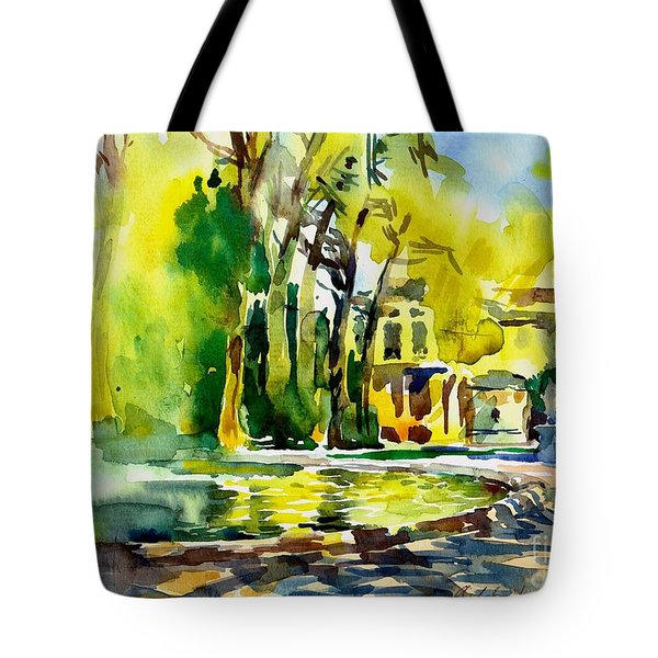 Fountain Spray - Brussels In Spring Tote Bag by Anna Lobovikov-Katz