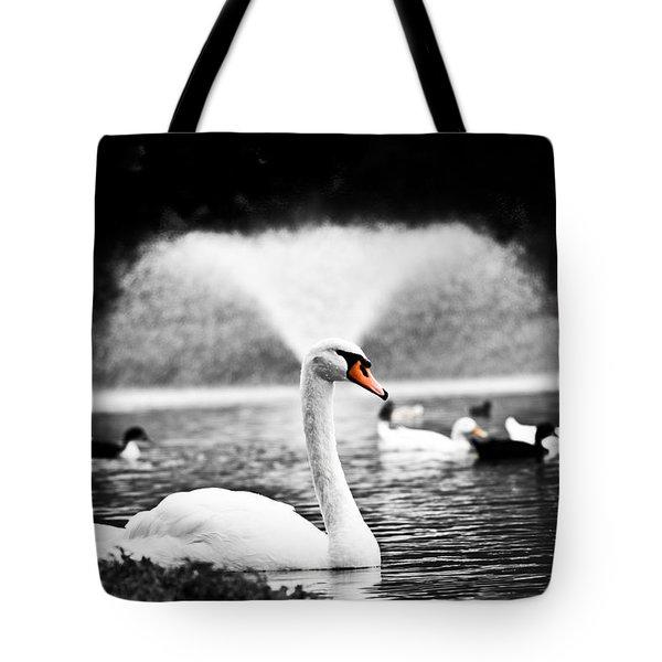 Fountain Swan Tote Bag by Shane Holsclaw