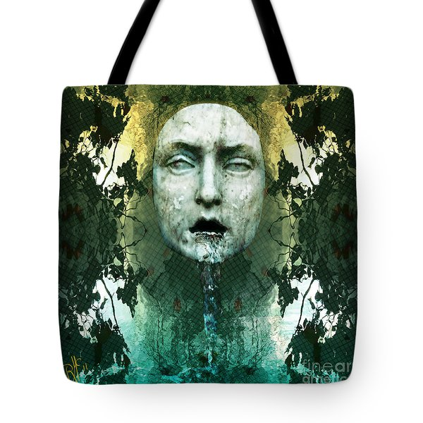 Tote Bag featuring the digital art Fountainhead Dream by Rosa Cobos