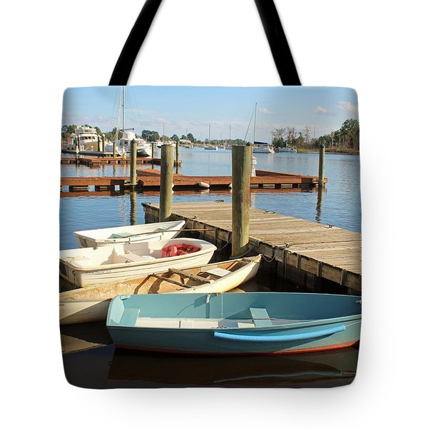 Tote Bag featuring the photograph Four Boats  by Cynthia Guinn