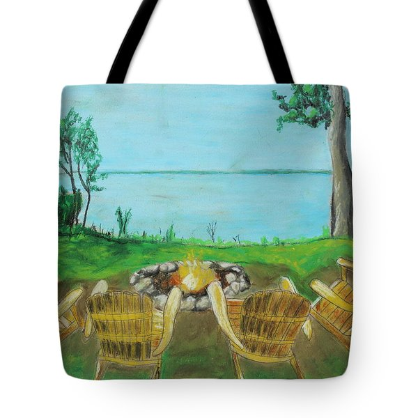 Tote Bag featuring the painting Four Chairs by Jeanne Fischer