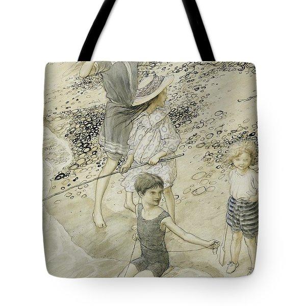 Four Children At The Seashore Tote Bag by Arthur Rackham