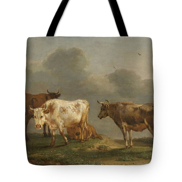Four Cows In A Meadow Tote Bag