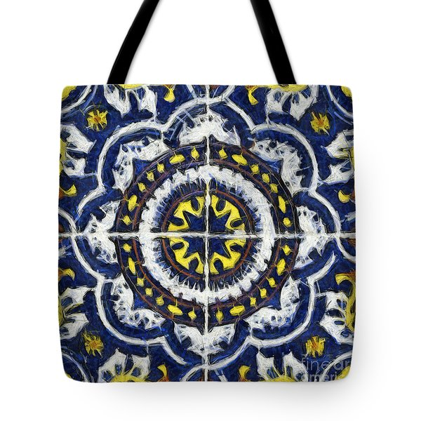 Four Painted Tiles-mexico Tote Bag