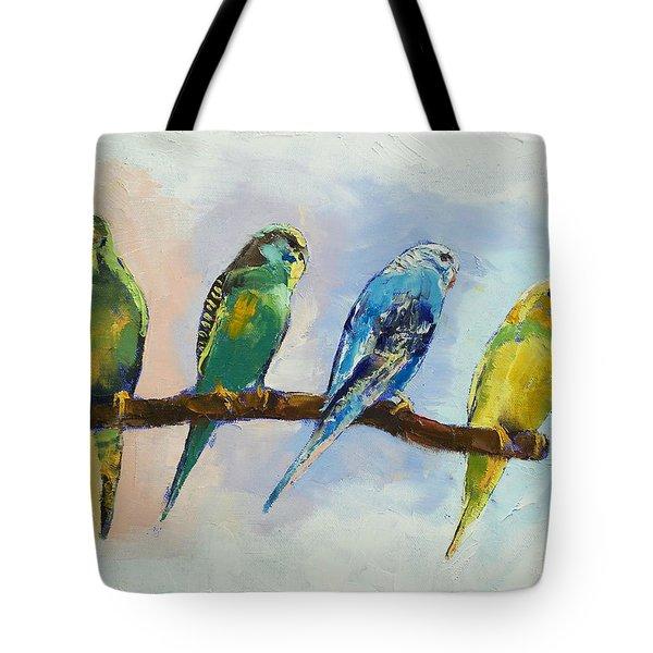 Four Parakeets Tote Bag