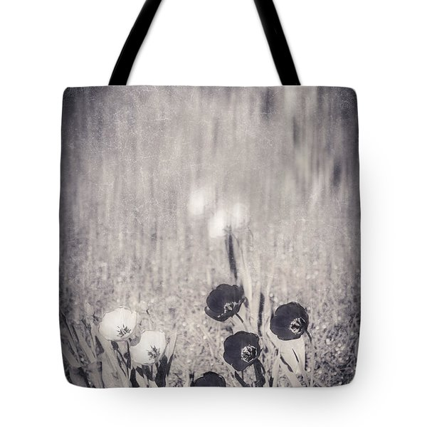 Four Red Tulips And Two Yellow Ones Tote Bag by Silvia Ganora