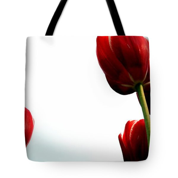 Four Red Tulips Tote Bag