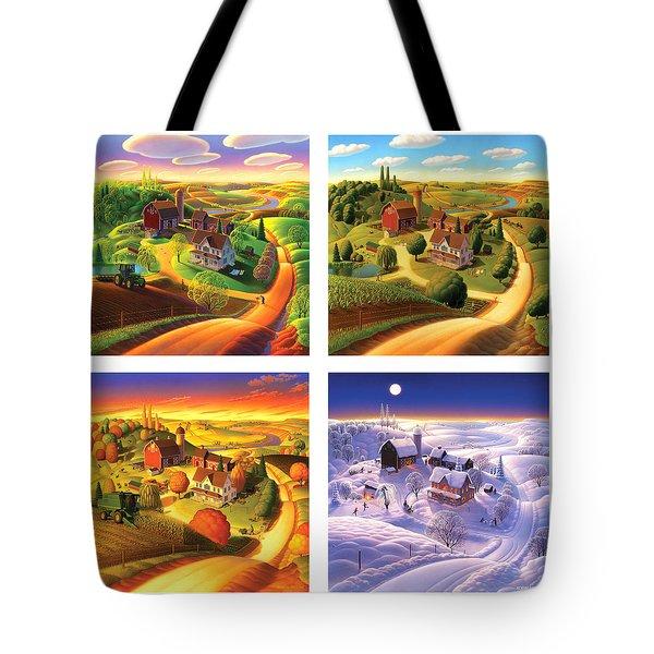 Four Seasons On The Farm Squared Tote Bag