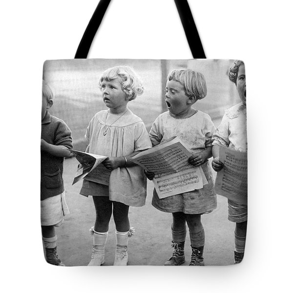 Four Young Children Singing Tote Bag