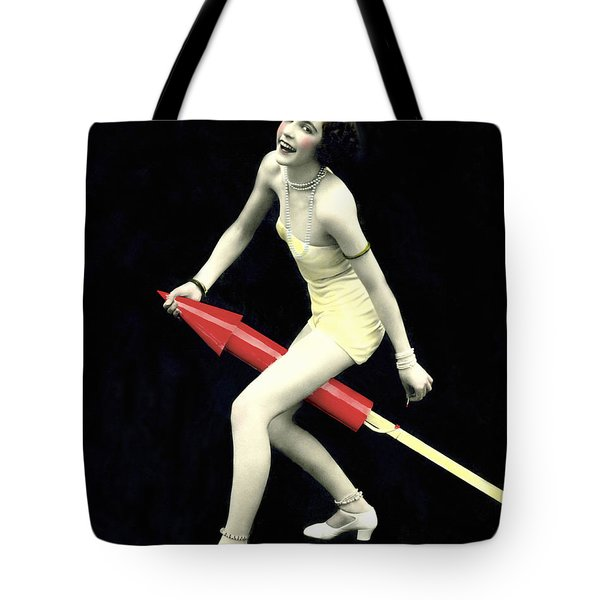 Fourth Of July Rocket Girl Tote Bag by Underwood Archives