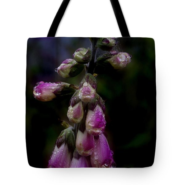 Tote Bag featuring the photograph Foxglove In The Rain by Adria Trail