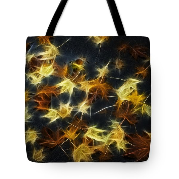Fractal Autumn Leaves Yellow Orange And Brown Tote Bag by Matthias Hauser