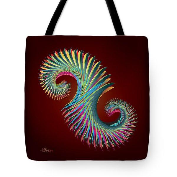 Fractal Feather Spiral Tote Bag by Hakon Soreide