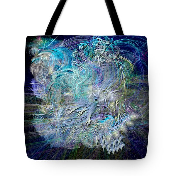 Fractal Feathers Blue Tote Bag