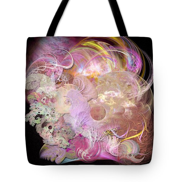 Fractal Feathers Pink Tote Bag