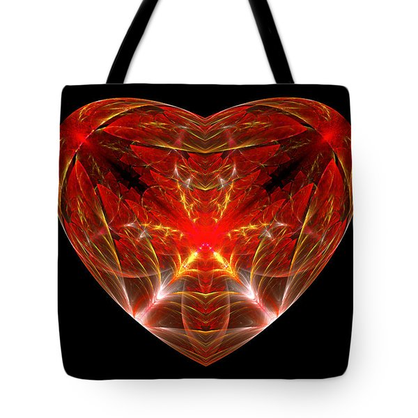 Fractal - Heart - Open Heart Tote Bag by Mike Savad